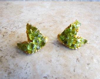 Vintage DFA Lime Green Peridot Leaf Clip Earrings