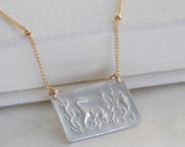 Seahorse or Mermaid Intaglio Necklace of Fine and Sterling Silver and/or 14kt Yellow or Rose Gold Fill - Eco Friendly, Recycled, Ethical