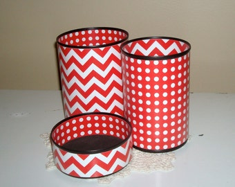 Fun Desk Accessories - YOUR CHOICE of Color - Pencil Holder - Red and Whte Chevron and Dots - Desk Organizer - Dorm or Classroom Decor - 742