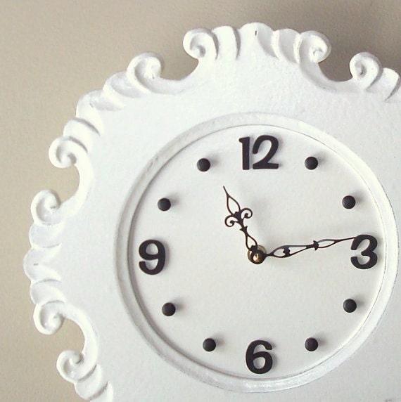 SILENT Cream Shabby Chic Wall Clock - Large Wall Clock - Unique Wall Clock - Wall Decor - 2106