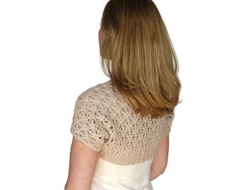 Lace Wedding Shrug Bella Bridal Bolero Almond Beige Dark Ivory Hand Knit Peruvian Wool XS S M L