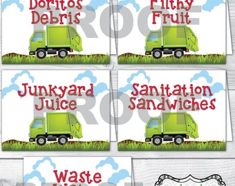 Garbage Truck Birthday Party Food Label Tent Cards, Five Cards, Trash Smash Mash Crash, Red Blue Green, Boy's Birthday Party (Digital Files)