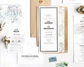 Destination Wedding Invitation, Travel Wedding Invitation, Vintage Map Wedding Invitation, World Map Wedding Invitation, Beach Wedding