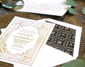 Gold Foil Wedding Invitation, Letterpress Wedding Invitation, Formal Wedding Invitation, Wedding Invitation Suite, Black and Gold
