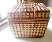 Brown Wicker Picnic Basket with Blue Gingham Lining Outdoor Entertaining Home and Living
