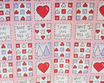 "Valentine Fabric, pink, red hearts, white, silver sparkle, 1 yard, love you, heart material, 2 yards plus 18"" total"