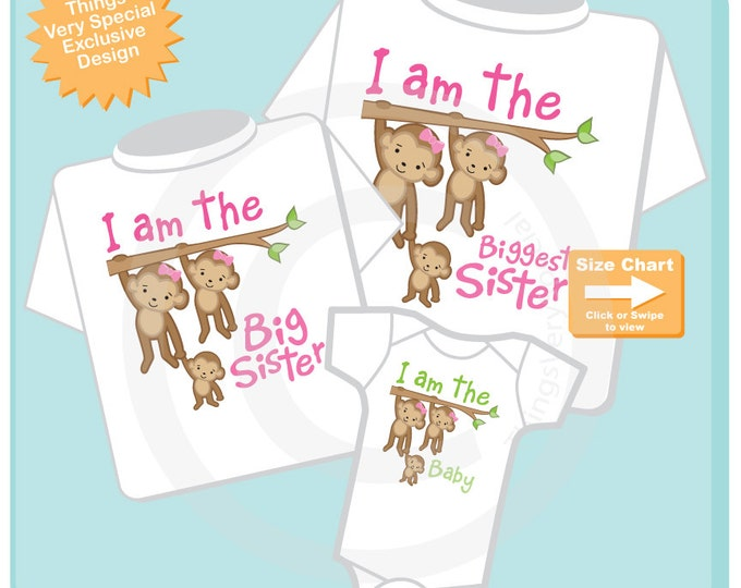 Sibling Monkey Shirt Set, Set of Three, Biggest Sister Shirt, Big Sister, The Baby, Personalized Shirt or Onesie 03242015e