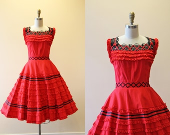 50s Dress - Vintage 1950s Dress - Red Black Polka Dots Cotton Lace Circle Skirt Sundress M - Rosita