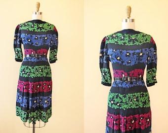 Vintage 1940s Dress - 40s Dress - Rayon Black Blue Green Wine Deco Floral Dress M - Reverse Polarity