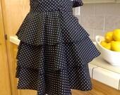 Diva Lingerie Apron  - Black with White polka dots.