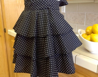 Diva Lingerie Apron  - Black with White polka dots.