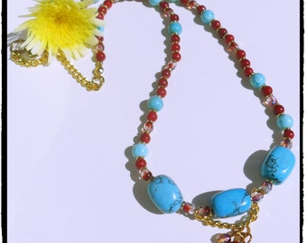 Turquoise & Red Beaded Necklace- costume jewelry