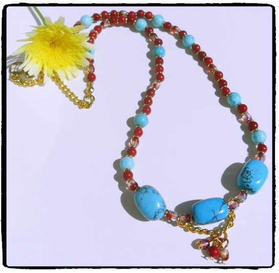 Items similar to turquoise red beaded necklace costume for Turquoise colored fashion jewelry