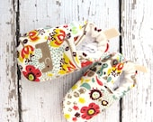 Organic Knits Vegan Floral Elephants / All Fabric Soft Sole Baby Shoes / Made to Order / Babies