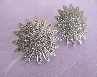 SALE! Silver and Marquisite Sunburst Earrings
