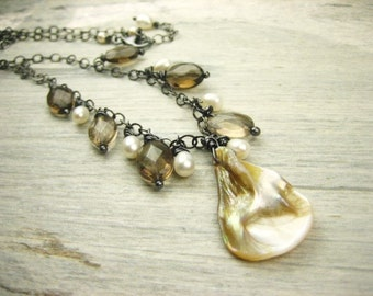Shell smoky quartz gemstone pearl beaded necklace sterling silver