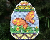 Beaded Ornament - Butterfly Egg - Easter Decoration - Free U.S. Shipping