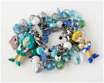 Sailor Uranus and Sailor Neptune Charm Bracelet, Chunky Stainless Steel Chain, Blue and Teal Charms