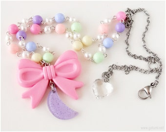 Crescent Moon Necklace, Pink Bow, Pastel Colors, Beaded Chain - Fairy Kei, Pastel Goth, Kawaii Jewelry