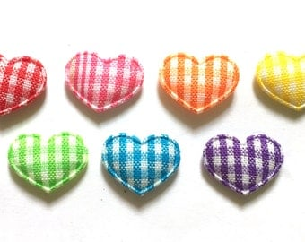 100 pcs - Small Gingham Heart Padded Appliques - Mix color - size  10 x 15 mm