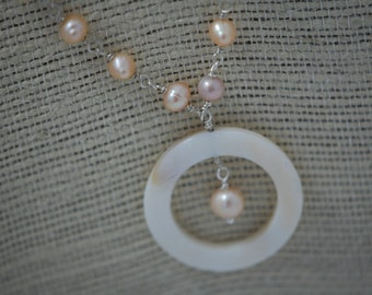 Round mother of pearl with peach & white freshwater pearls. June birthstone, Sterling silver, wire wrapped necklace, wedding jewelry.