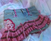 Blue Jean Skirt, Shabby Skirt, Altered Skirt, OOAK Skirt