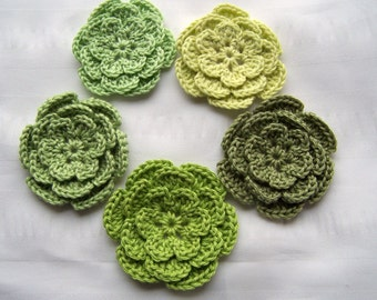 Appliques flowers  2.5inch cotton group of green set of 5 greens