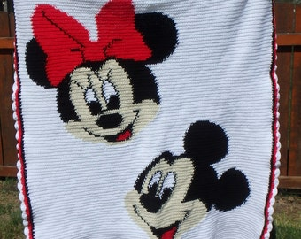 Mickey and Minnie Mouse Crocheted Blanket - Afghan - Bed Spread - Comforter - Twin Size - 4-6 Week Production TIme
