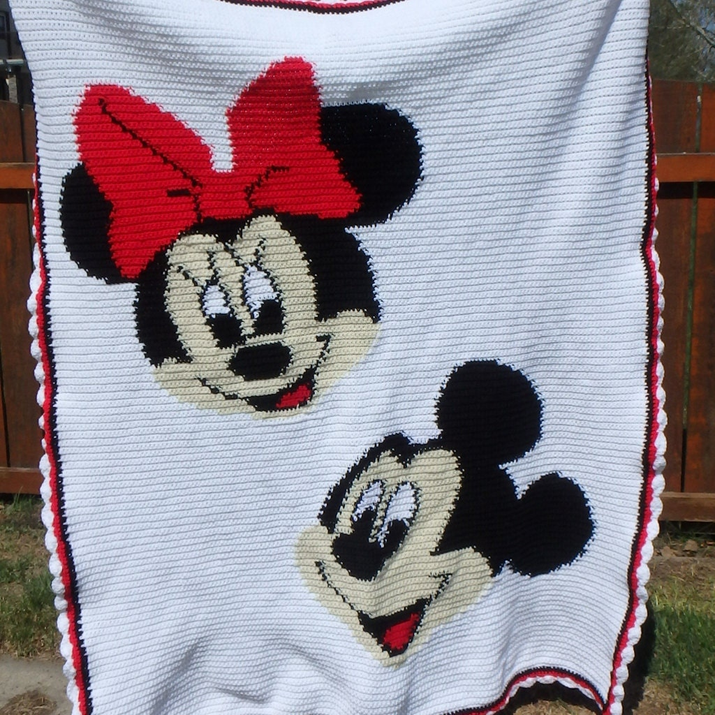 Mickey and Minnie Mouse Crocheted Blanket Afghan Bed