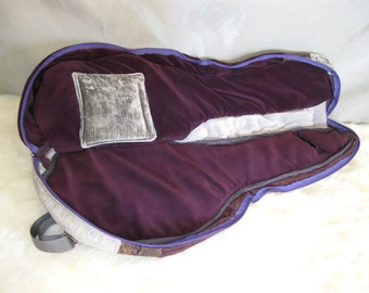 A Style Mandolin Case - Beginner Case - Gig Bag in Purple and Gray Patchwork Gig Bag Musician Gift PIF