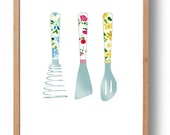 Kitchen art, kitchen Utensils art Print ,kitchen print, floral  print,  Retro  kitchen art, mothers day, hostess gift