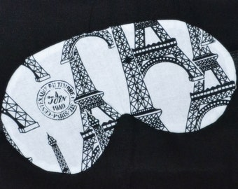 French Paris EIFFEL TOWER Black & White Five Layer LUXURY Cotton Sleep Eye Mask