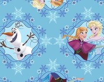 Disney Frozen 100% Cotton Fabric -Elsa Anna and Olaf Ice Skating - By The Yard