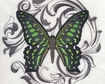 GREEN SPOTTED TRIANGLE - Machine Embroidered Quilt Block (AzEB)