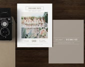 8x10 Vertical Postcard Template - Mini Session Marketing Templates - Modern Photography Branding - Digital Photoshop Templates - m0187