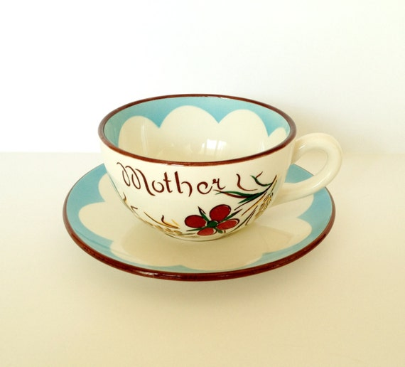 Oversized Western Germany Mother Coffee Cup And Saucer Set