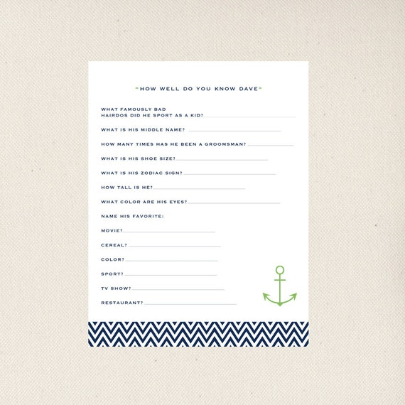 Bridal Shower Game How Well Do You Know The Groom Printable