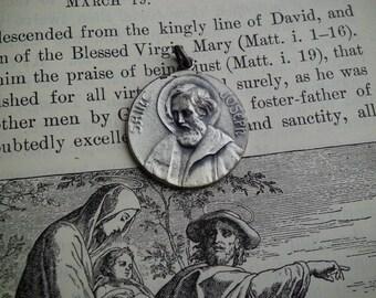 Vintage Sterling Silver St Joseph Religious Medal