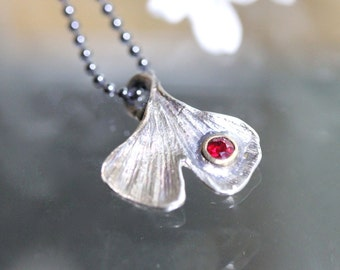 Ginkgo Leave Ruby Pendant, Recycled Sterling Silver Necklace, Gemstone, Birthstone, Statement Necklace - Ship In The Next 9 Days