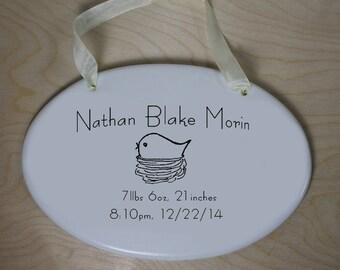 CUSTOM - Ceramic New Baby Plaque