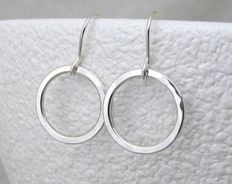 Small Hoop Earrings Silver Hammered Circle Earrings Simple Hoops Minimalist Jewelry Sterling Hoop Earrings Everyday Earrings Gift for Her