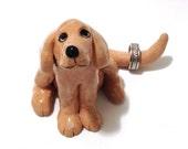 Dog Ring Holder, Ceramic Dog Sculpture, Dog Cake Topper, Gift for Him