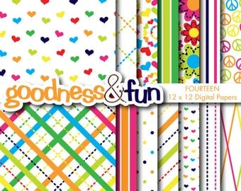 Buy 2, Get 1 FREE - Peace and Love Digital Papers - Digital Peace Love Paper Pack - Instant Download