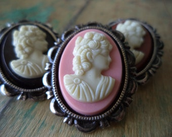 3 Cameo Brooches