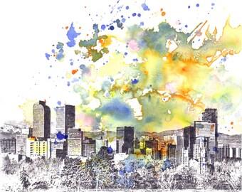 Denver Skyline Art Print From Original Watercolor Painting 8 x 10 in Denver Art Print Denver Skyline Painting