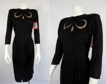 1940's Black Rayon Dress with Beadwork