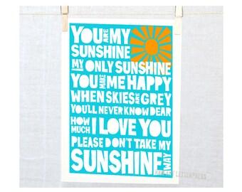 Nursery Decor, Nursery Art Print, Kids Wall art   You are my sunshine