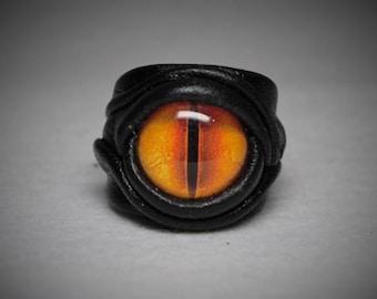 Dragon eye adjustable genuine leather ring. Burning man costumes. Leather ring. Horror leather ring. Devil eye ring. Halloween ring.
