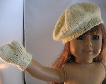 Hand Knit Doll Clothes Accessories Hat Mittens Hand Knit fits doll such as 18 inch American Girl Choice of colors