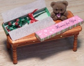 Dollhouse Miniature Half Dozen Roses Boxed with Light Teddy Bear Handcrafted